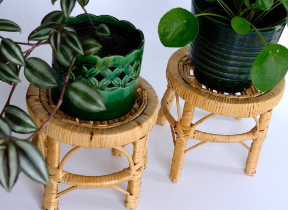 Vintage Bambus Blumenhocker Beistelltisch bohemian home ...