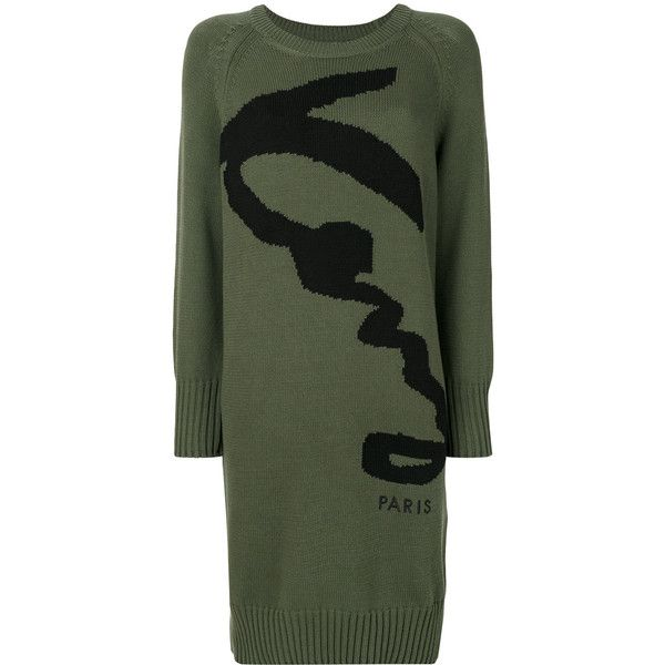 Kenzo Signature dress ($540) ❤ liked on Polyvore featuring dresses, green, three quarter length sleeve dress, 3 4 length sleeve dress, mid length dresses, green color dress and kenzo