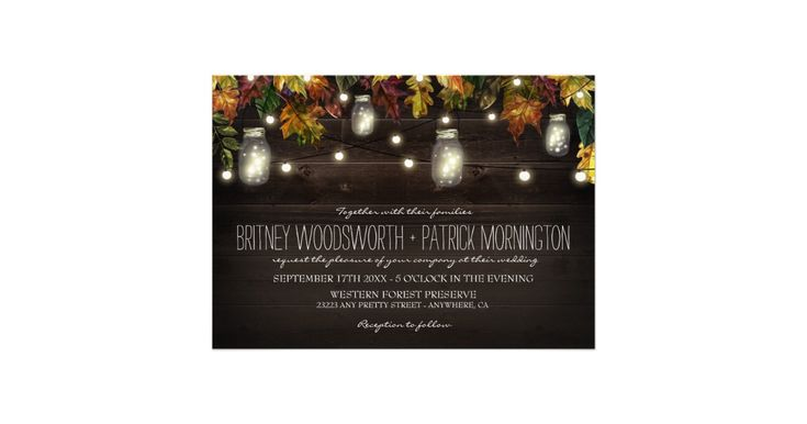 Rustic Fall Firefly Mason Jar Wedding Invitations - features a rustic barn wood background with maple, oak and other leaves in fall colors -- red, burgundy, yellow, green and orange with string glowing lights through out. Mason jars filled with lights or fireflies are also added to the design.
