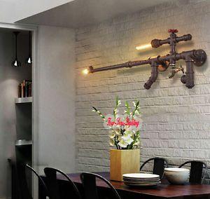Vintage Loft Industrial Edison Water Pipe Wall Lamp Cinnamon 2 Lights Cafe Bar | eBay