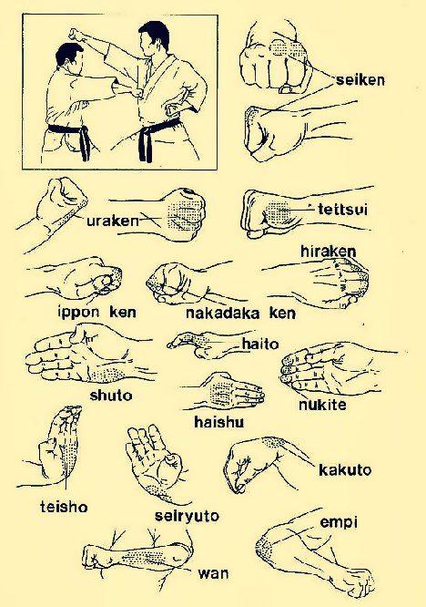 karate striking, zonas de golpeo