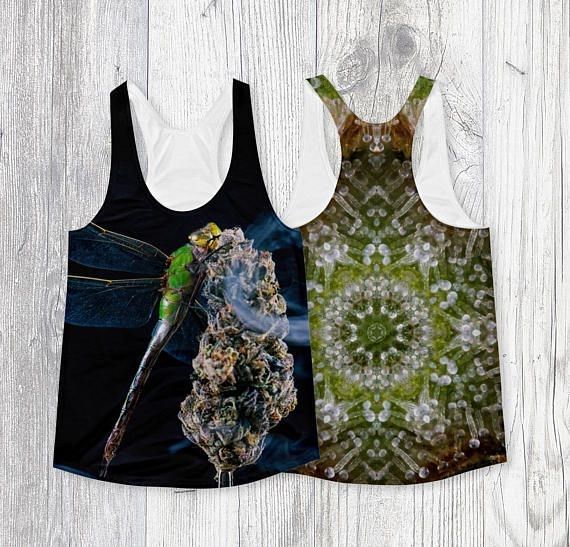 #Weed Art #Tank with #Dragonfly #Trichomes Mandala Double Sided #Cannabis #ganja