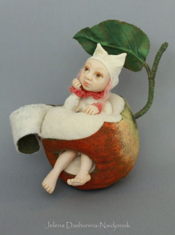 OOAK, Art doll by Jelena Dashunina-Naidjonok, Art Doll Collection - What about me, Worm girl in the apple, Collectible, Collector's item,