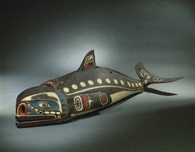 "19th century Kwakwaka'wakw (First Nations) Baleen whale mask at the Brooklyn Museum - From the curators' comments: ""Masks like this are owned by a particular person who has inherited the rights to make, wear, and perform with it during potlatch ceremonies, elaborate communal celebrations. The mask is worn along the dancer's back while he imitates the swimming and diving of the whale by manipulating cords to move the flippers, tail, and jaw."""