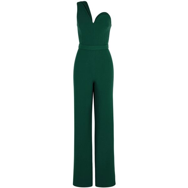 Brandon Maxwell Dark Green One-shoulder Jumpsuit - Size 8 ($3,250) ❤ liked on Polyvore featuring jumpsuits, jumpsuit, jump suit, one sleeve jumpsuit, green jumpsuit, one shoulder jumpsuit and dark green jumpsuit