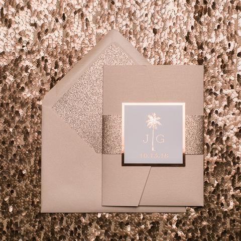 KONA Suite Ornate Glitter Pocket Folder Package, destination wedding invitation, tropical wedding invitations, palm trees, letterpress, rose gold foil stamping, rose gold glitter, blush wedding invitations