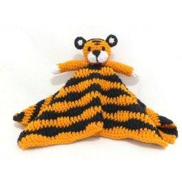 Tigre con cuerpo de manta, hecho en ganchillo.