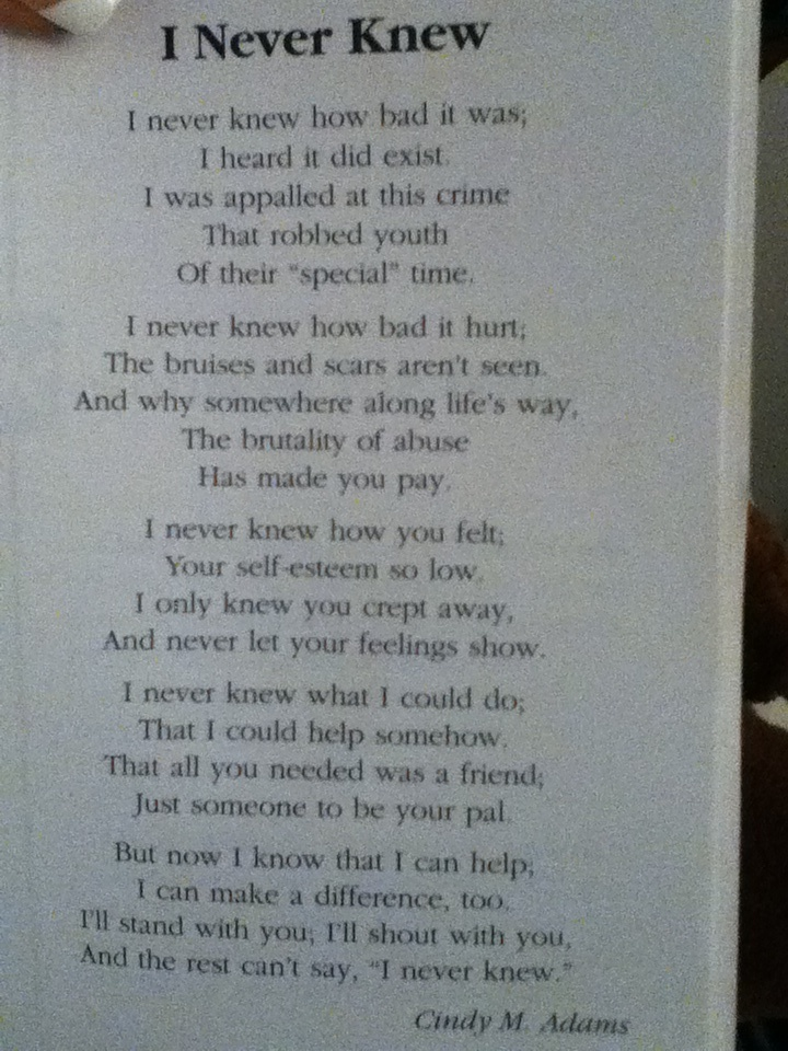 Beautiful poem from the book a child called it poems