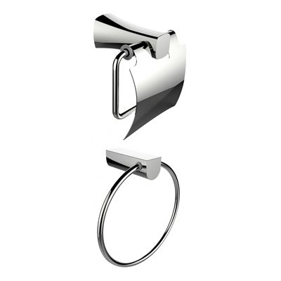 American Imaginations AI-13315 Chrome Plated Towel Ring with Toilet Paper Holder Accessory Set