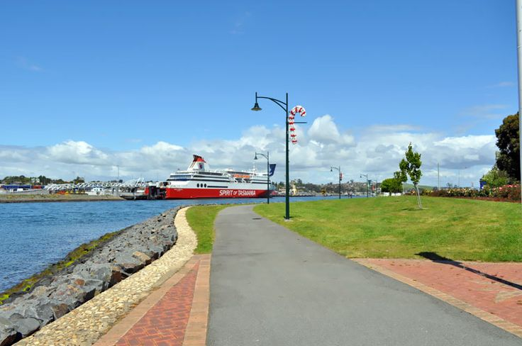 Spirit of Tasmania Ferry berths at Devonport after overnight sail from Melbourne