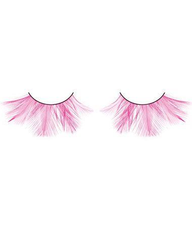 Fake Hot Pink Feather Eye Lashes