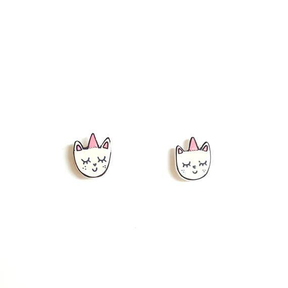 Uni-kitty Stud Earrings | Shrink Plastic, Cute, Gift Idea.