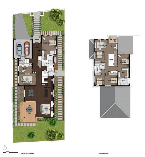 Real Estate Floor Plans Full Color Houses created by Pavel Vrzala
