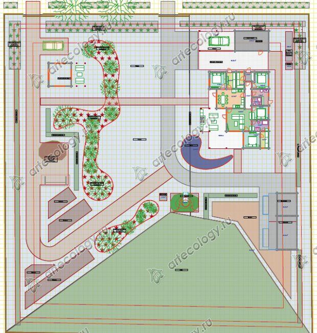 Генеральный план участка в 2D, с разъяснениями