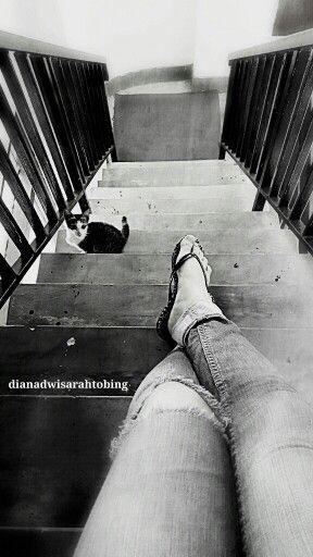 #cat #foot #stairs #blackwhite #photography #digitalart