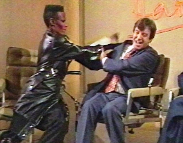 Grace Jones slapping Russell Harty on BBC in 1981