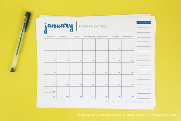Free Printable 2016 Desk Calendar designed by Elegance & Enchantment for TodaysCreativeLife.com | Time to get organized. Print out a few calendars for each family member.