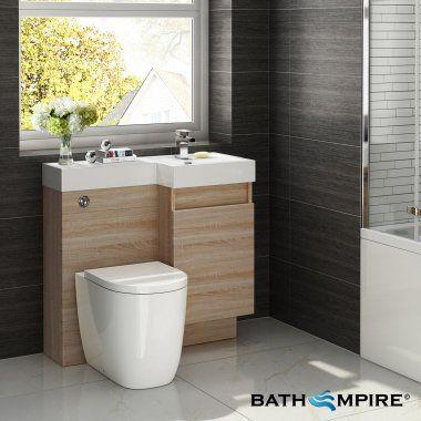 Light Oak Combined Vanity Unit Toilet And Basin 906x880mm Bathempire Oak Bathroom Furniturelight