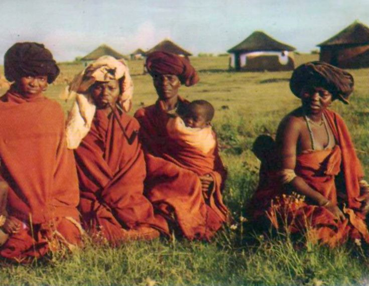 Africa | Group of Xhosa women and children ~ People of the Red Blanket.  South Africa || Scanned postcard; publisher Frameworthy Publications