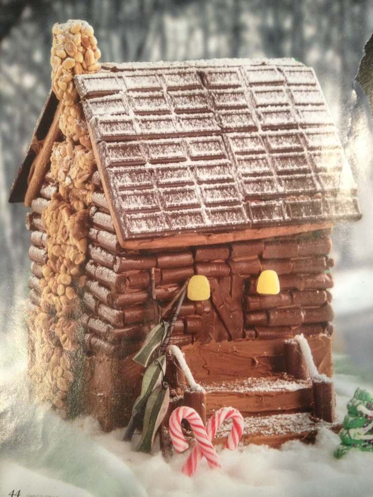 Gingerbread House Idea Love The Tootsie Roll Log Cabin
