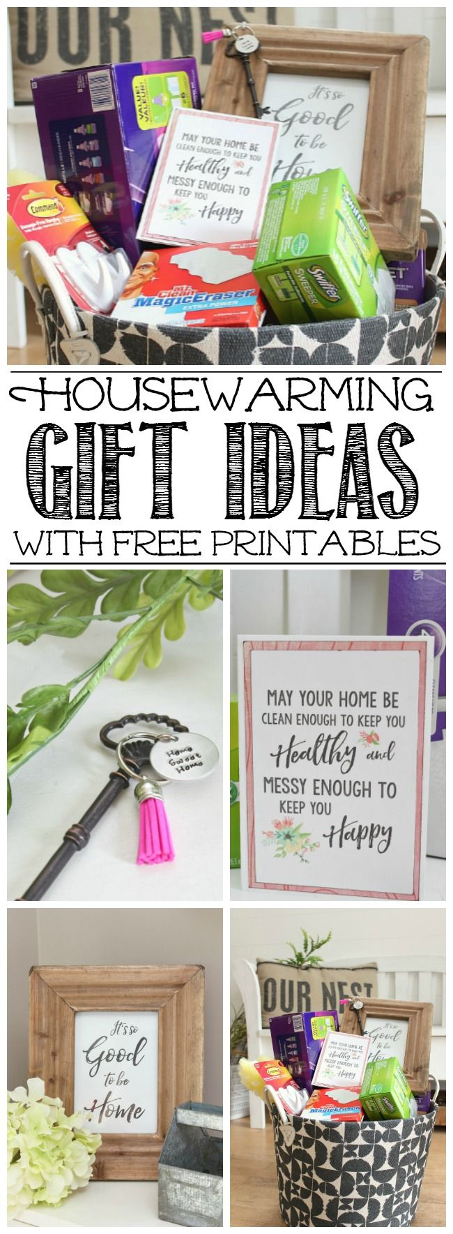 Package up all of your favorite cleaning supplies and a few fun goodies for a practical housewarming gift that will actually be used! Cute printables to go along with it!