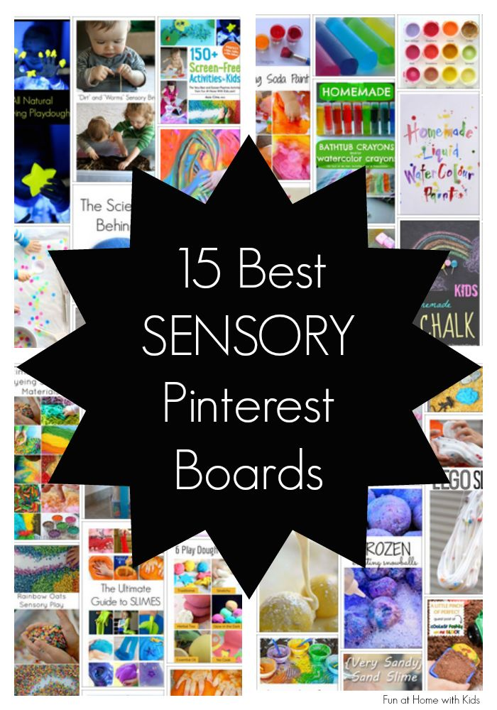 15 of the best Pinterest boards for finding great sensory activities. Everything from ideas for sensory bin fillers to recipes for playdoughs and slime! From Fun at Home with Kids