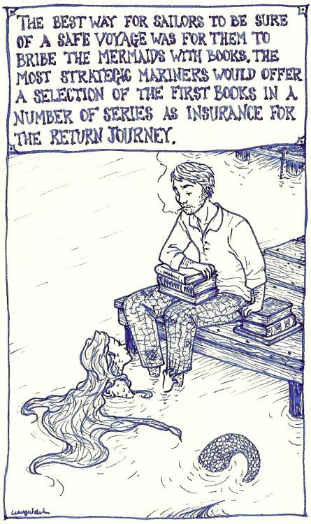 clatterandclank:  selenographics:  ~ Mermaids & Books - Strategic Mariners  this is my new favorite thing  This seemed relevant.