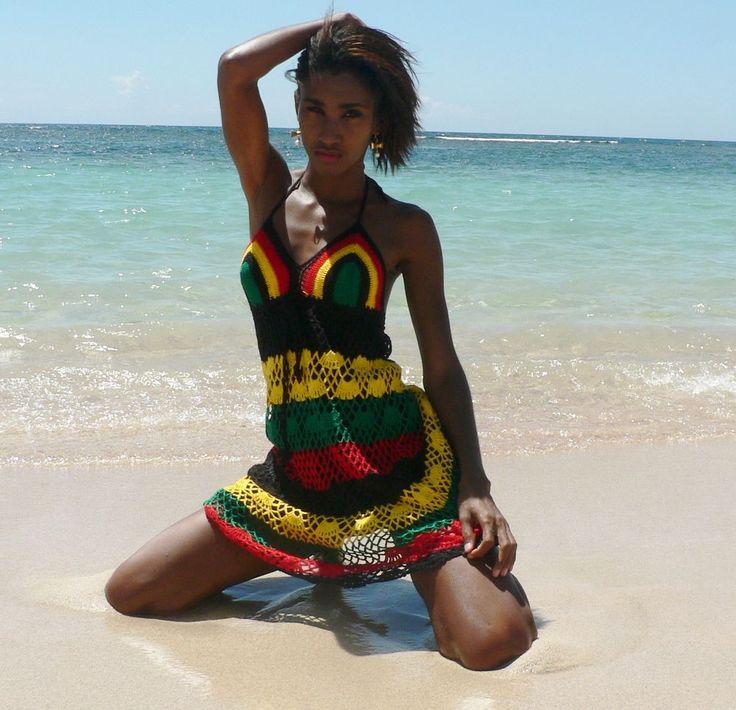 Crochet Dress Handmade, Knitted Jamaican colors. UK SELLER