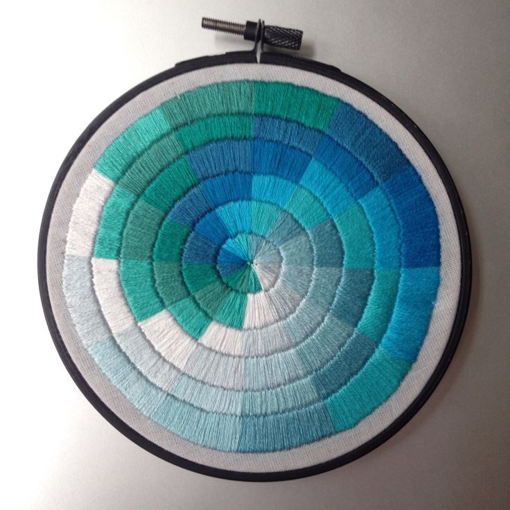 Blue satin stitched colourwheel hand embroidery by Corinne Sleight 2014