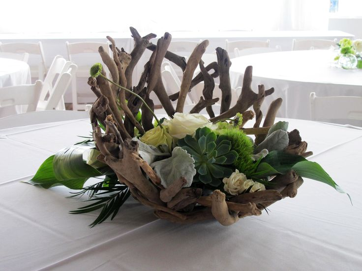driftwood centerpieces wedding | These arrangements featured succulents, driftwood bowls, dusty miller ...
