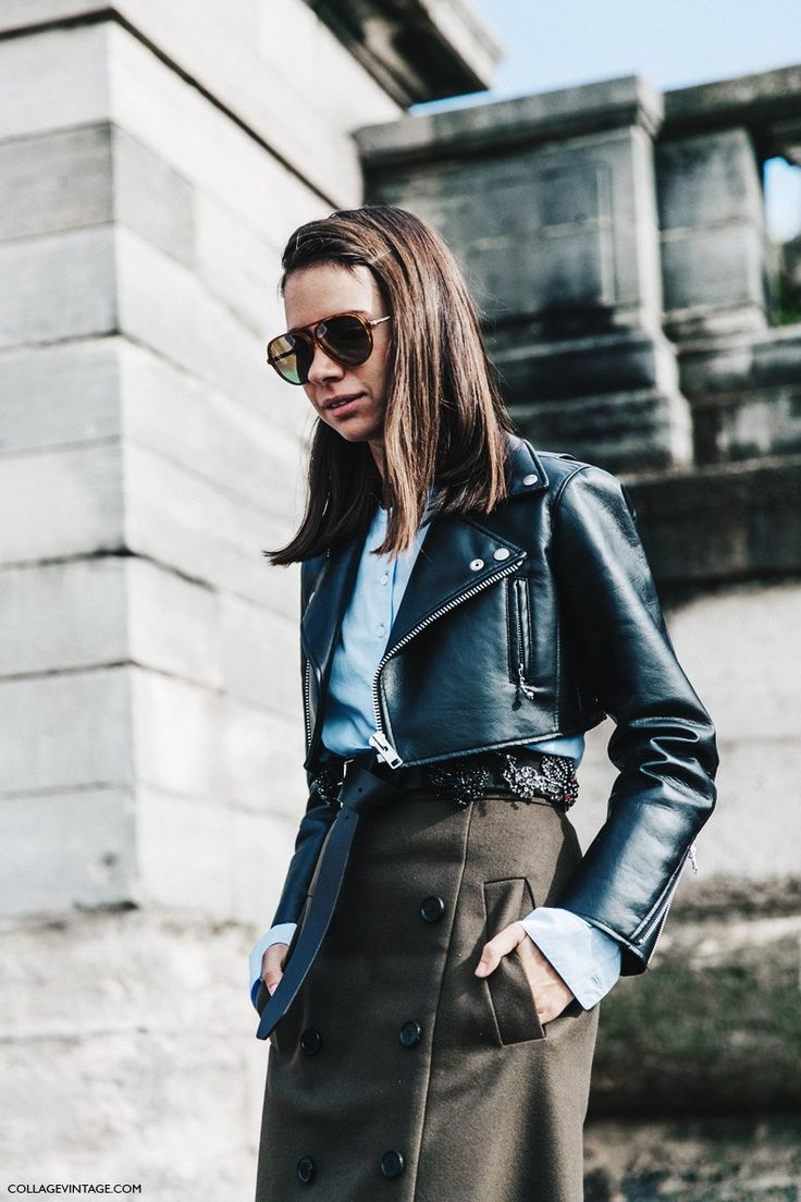 PFW SS 2016 | Street Style | Natasha Goldeberg in a Cropped Leather Biker Jacket and Aviator Shades | Photo: College Vintage