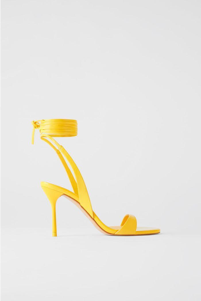 Zara Tie Strap Leather High Heeled Sandals Sandals Heels Leather High Heels Fall Shoe Trend