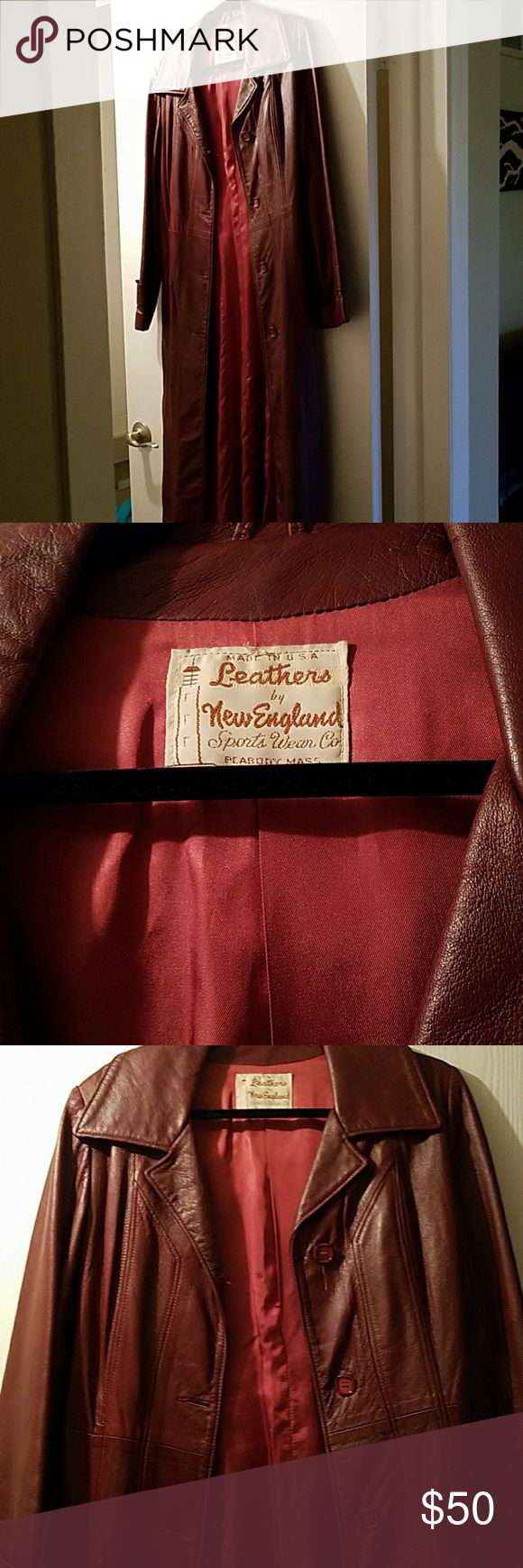 Vintage long leather coat Vintage red leather women's coat. Made by leathers by new England sports wear company. Great condition, no wear or tear. Long knee length coat with belt. This is an actual vintage piece. Jackets & Coats Trench Coats