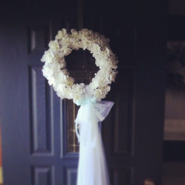 Bridal wreath for the front door. Fake flowers, grape vine wreath, tulle, and ribbon.  Photo by courtneykay221