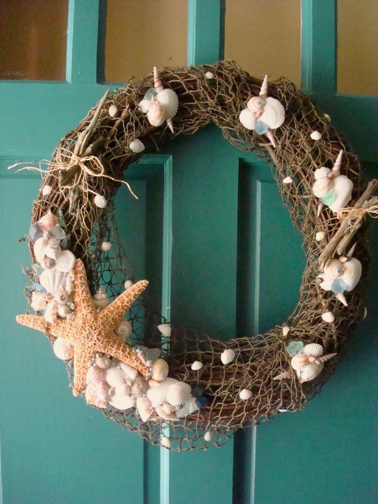 Large treasures of the sea grapevine wreath seashells for Seashell wreath craft ideas