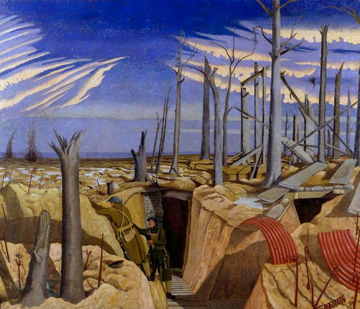 Oppy Wood by John Nash (1917) / With his brother Paul, John Nash served as an infantryman in the Artist's Rifles. He was not formally trained as an artist and only became a war artist in 1918. He became known for his carefully-detailed illustrations of trench life.