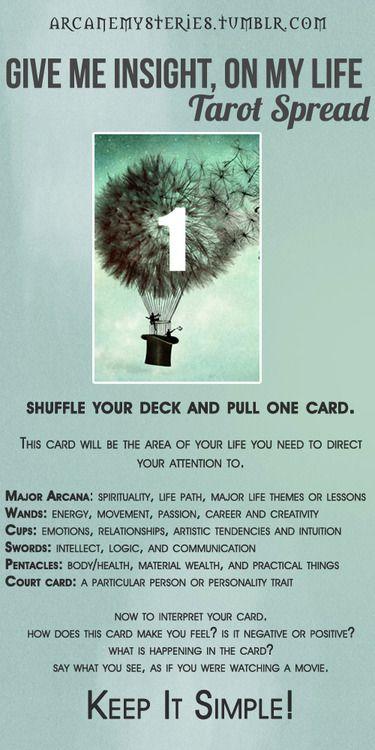 Give me insight on my life Tarot Spread - Tarot Tips. http://arcanemysteries.tumblr.com/
