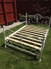 Vintage Style White Metal Double Bed Frame