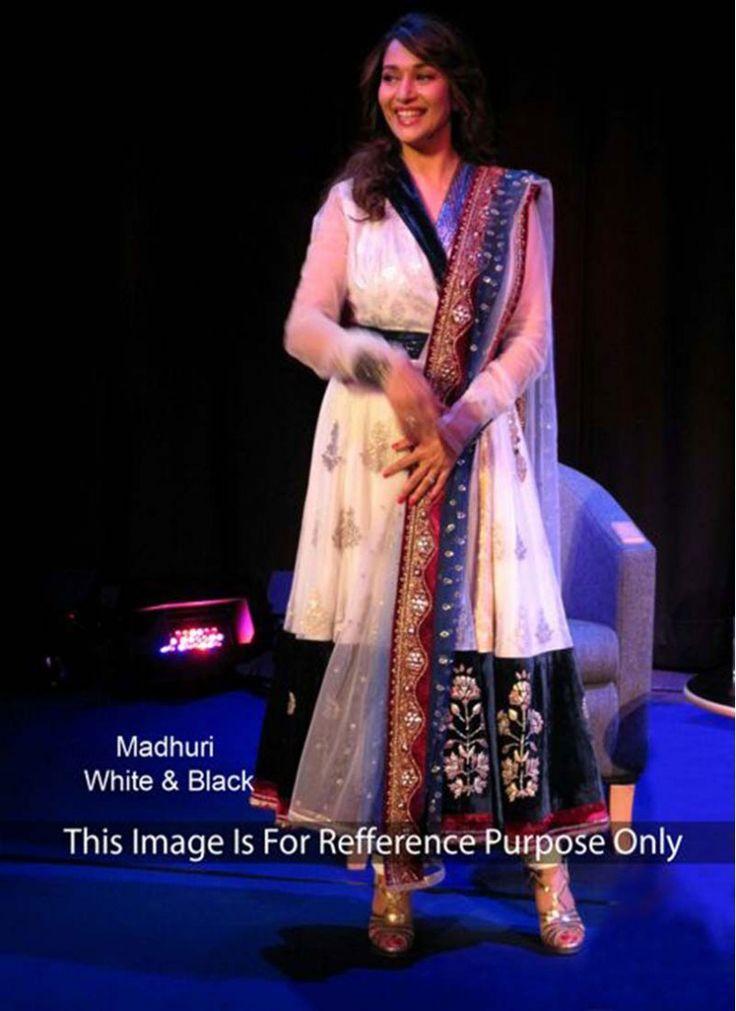 Madhuri Dixit Black and White Lace Anarkali Salwar Kameez