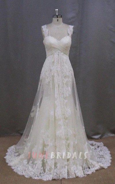 Long Sleeveless A Line Lace Wedding Dress With Empire Waist