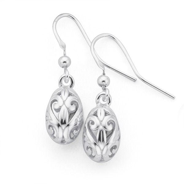 Silver Pear Filigree Drop Earrings