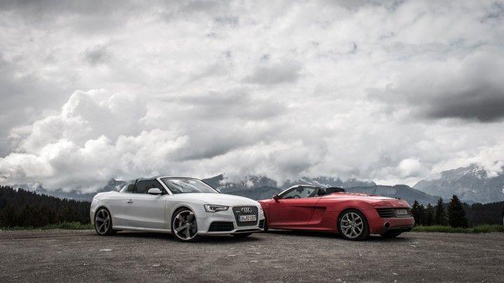 Audi RS5 Convertible and Audi R8 V10 Spyder - http://passiondriving.de/2014/06/12/thepluses2-einstieg-route-des-grandes-alpes-frankreich/