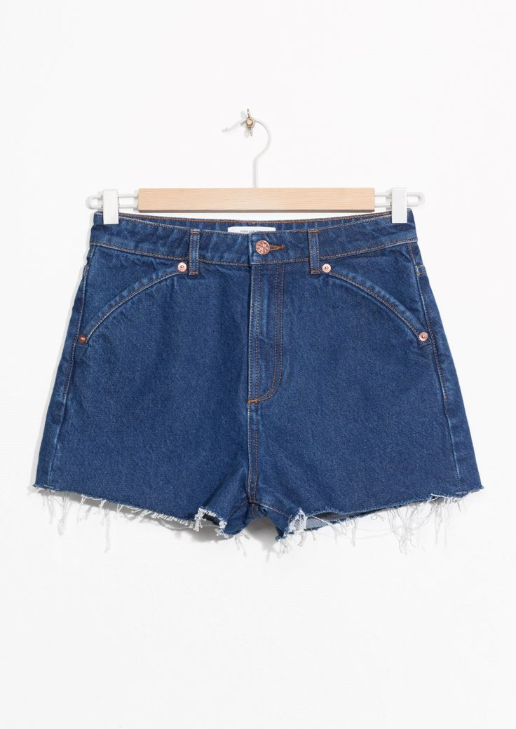 & Other Stories image 2 of Raw Edge Denim Shorts in Blue