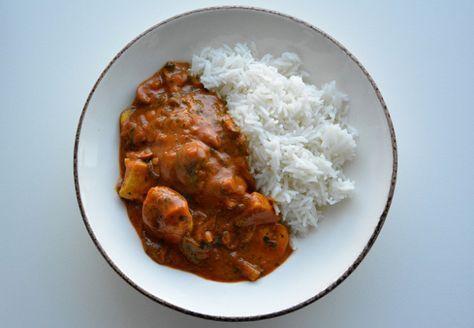 Kip in rode curry met rijst voor 14 SmartPoints per portie bij Weight Watchers.
