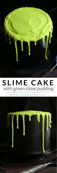 Learn how to make fun and easy halloween cake for kids with this ooey gooey Slime Cake with black magic buttercream! @iambaker #iambakerdessert #iambaker
