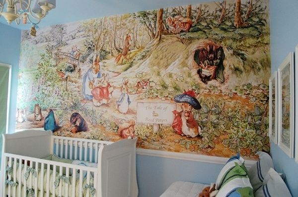 For the nursery beatrix potter mural once in a blue for Beatrix potter wall mural