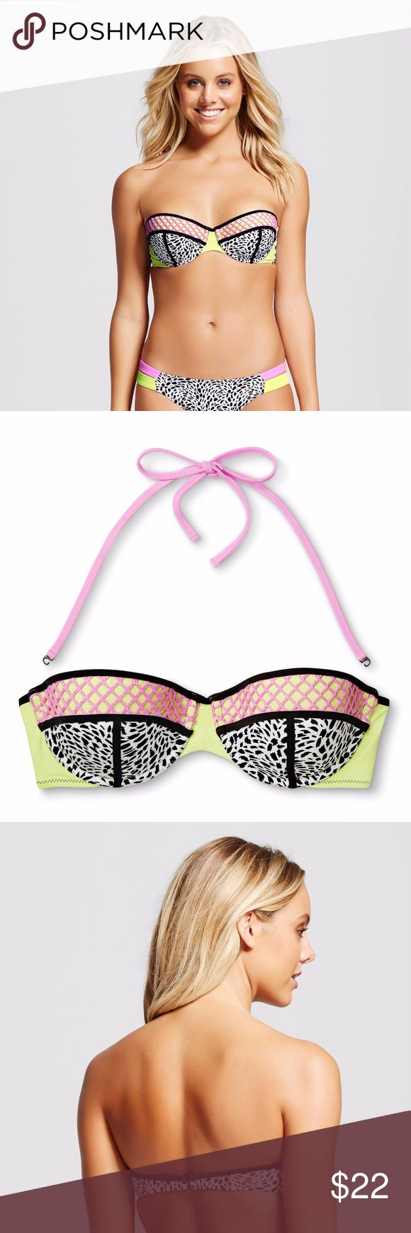 New SHADE & SHORE Vacay Bandeau Bikini Top Women's Vacay Bandeau Bikini Top - Shade & Shore size 34D or 36D  Prepare to be fierce in this Bikini Top with its flirty, all over animal print. It has color block detail, contrast crochet netting & sporty black binding that will stand out in any crowd. Molded cups & an underwire provides light lift & support while the hook back closure offers easy adjustability.  Underwire w/molded cups  Bandeau top, adjustable Model wearing sz 34C  condition: new…