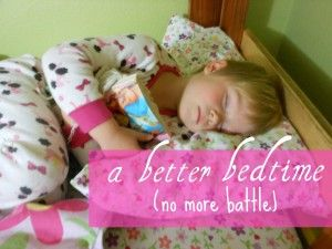 "A simple bedtime trick! Then, a comment after the post that I want to remember: ""When we were kids growing up,our bedtime was always at 8, but if we were in bed by 7:30, we could stay up reading until 8:30. It not only taught us that reading was a reward and not a punishment, but it also got us in bed earlier – extra bonus points for mom!"""