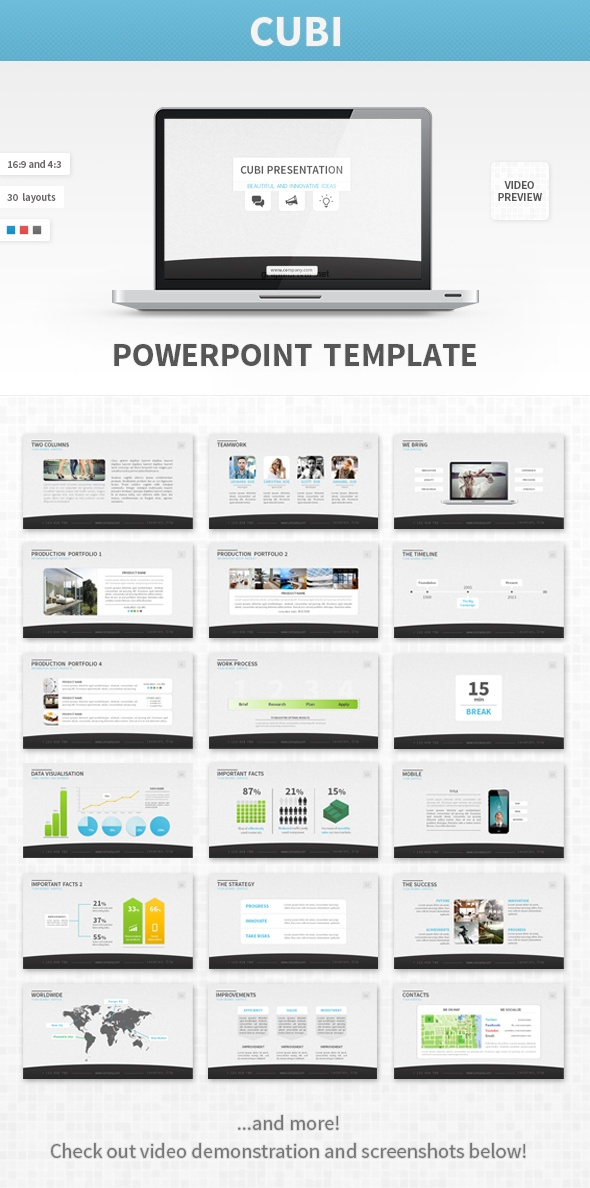 - CUBI PPT - Presentation template goes well with corporate, technology, business and other themes. Check this and more at: http://graphicriver.net/item/cubi-powerpoint-template/3936961?ref=stunvisuals