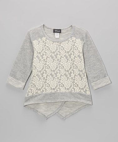 Gray Lace Split-Back French Terry Hi-Low Top